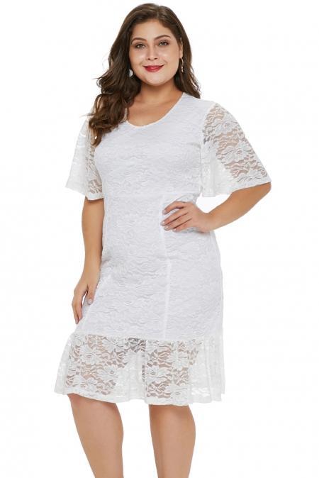 Summer Short Sleeve Plus Size White Lace Dress mb610915-1 .