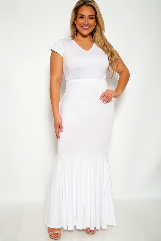 Sexy White V-Cut Short Sleeve Plus Size Formal Mermaid Dre