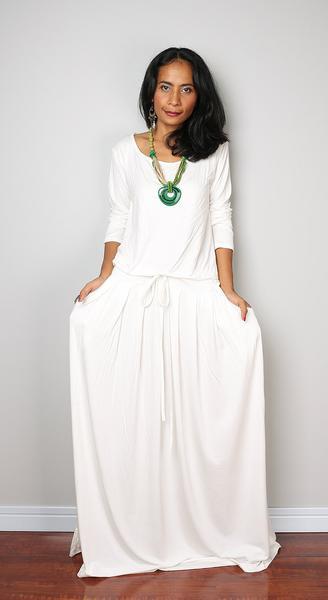 PLUS SIZE Dress / Off-White Maxi Dress - Long Sleeve dress .
