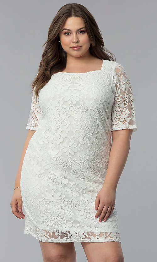 Plus-Size White Lace Graduation Dress with Sleev