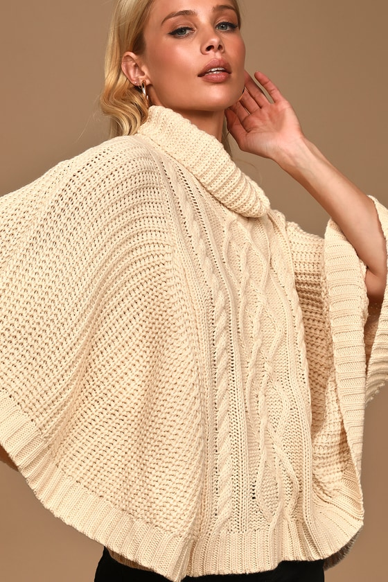 Chic Cream Sweater - Poncho Sweater - Cable Knit Poncho Sweat