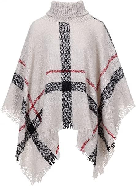 Amazon.com: QZUnique Women's Turtleneck Poncho Sweater Knit Cape .