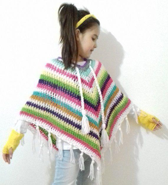 Rainbow poncho Kid Multicolor girls poncho Colorful Gaucho poncho .