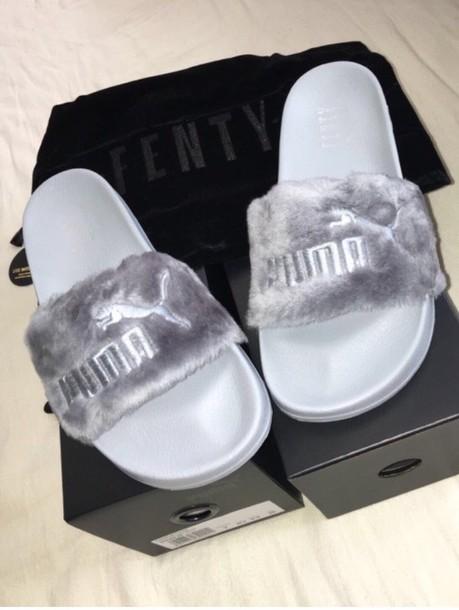 shoes, puma, slippers, slide shoes, fur, grey - Wheretog