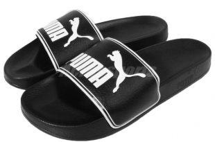 Puma Leadcat Black White Big Logo Men Sandals Slides Slippers .