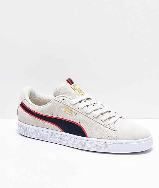 PUMA Suede Classic Sport Stripes White & Red Shoes | Zumi