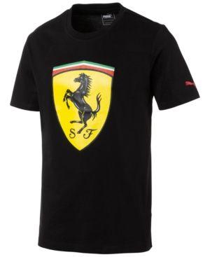 Puma Men's Ferrari Big Shield Cotton T-Shirt - Black XXL | T-shirt .