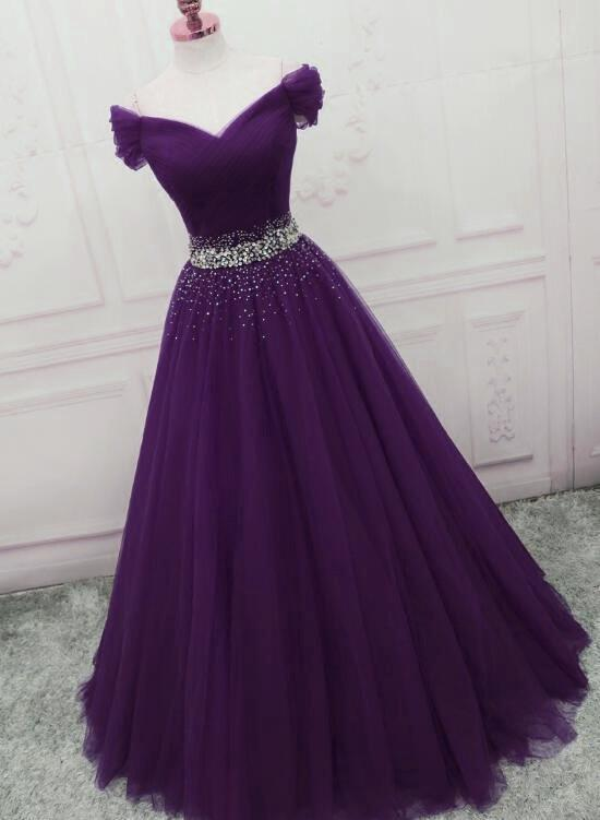 Charming Dark Purple Tulle Long Off the Shoulder Party Dress, Long .