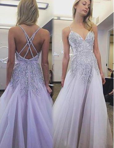 Spaghetti Prom Dress,Light Purple Prom Dresses,Beaded Prom Dresses .