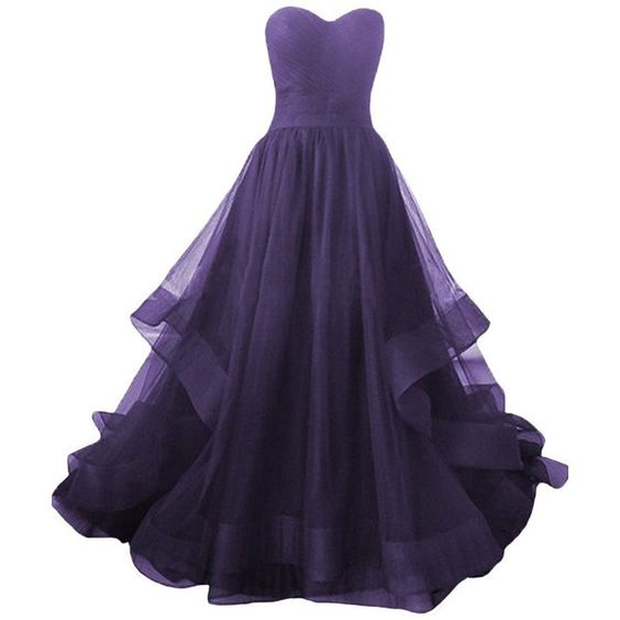 Dark Purple Prom Dress, Tulle Sweetheart Formal Gowns, Formal .