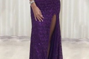 Mermaid Scoop Floor-Length Purple Lace Prom Dress with Sequins .