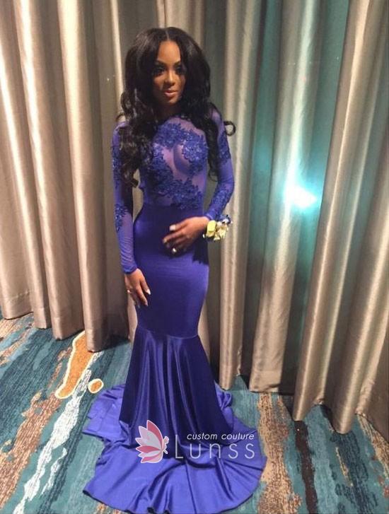 Bluish Purple Long Sleeve Satin Mermaid Prom Dress - Lun