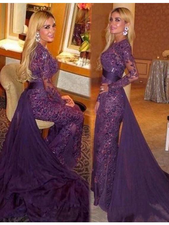 Buy Intricate Jewel Long Sleeves Mermaid Watteau Train Purple Prom .