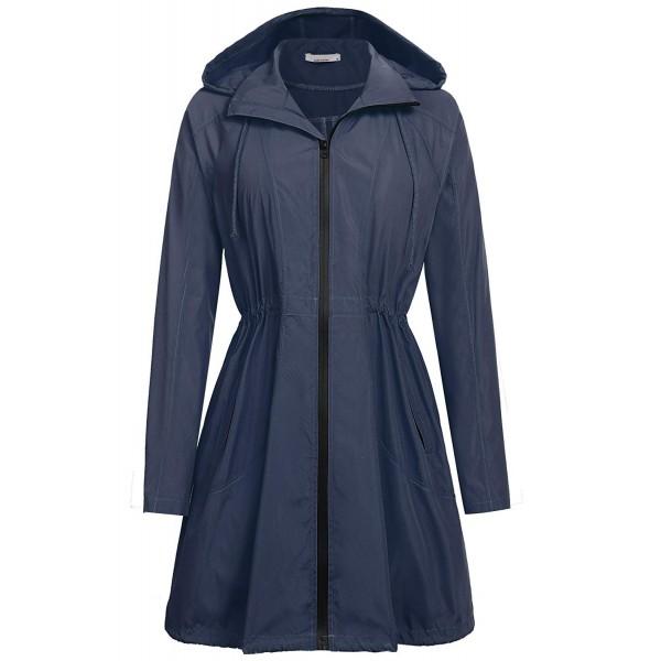 Women Waterproof Lightweight Drawstring Rain Jacket Outdoor Hooded .