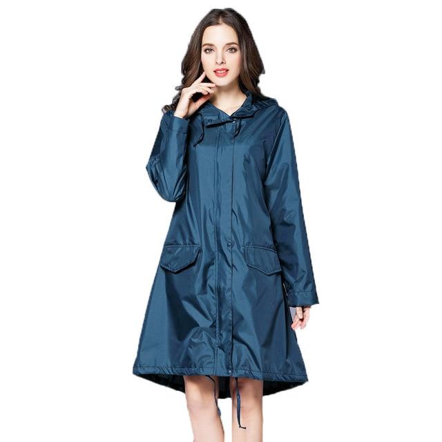 6 Colors Waterproof Raincoat Women Hooded Long Rain Jacket .