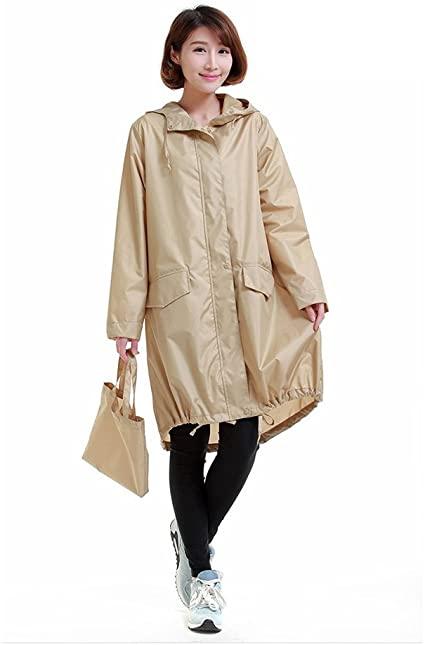 Amazon.com: Women Raincoat Hood Long Rain Jacket Lady's Raincoat .