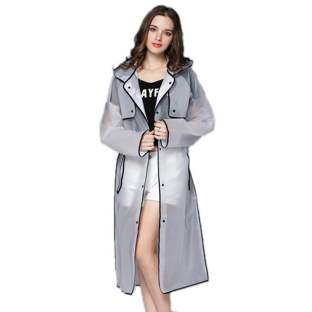 EVA Transparent Raincoat Hooded Women Rain Coat Long Jacket .