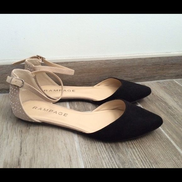 Rampage Black and Tan Ankle Strap Ballet Flats (With images .