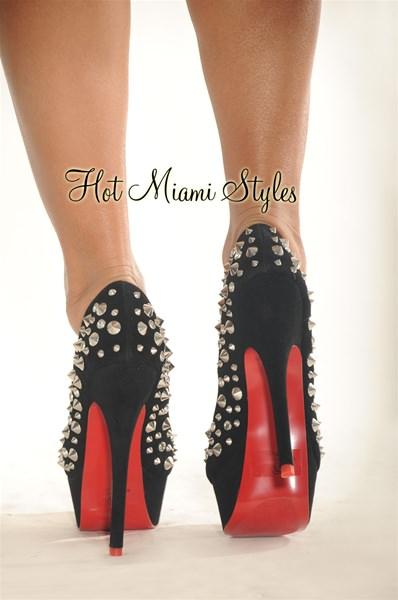 Black Silver Studded High Heel Red Bottom Pum