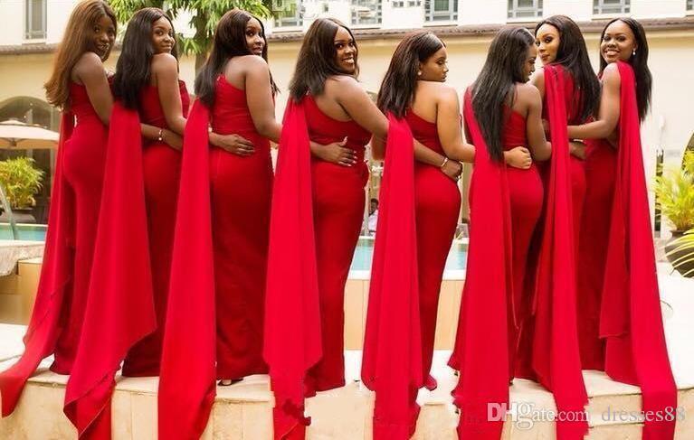 2019 Arabic Cheap Red Mermaid Bridesmaid Dresses One Shoulder Side .