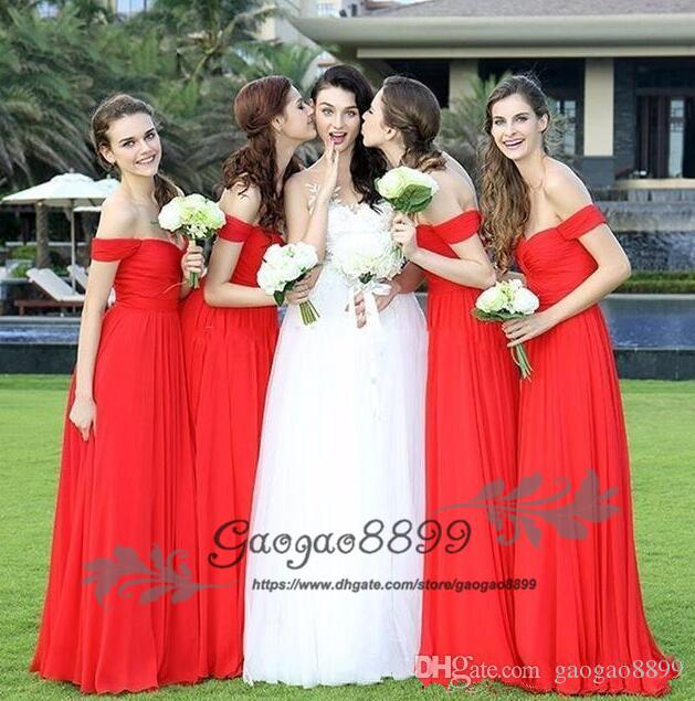 2019 New Cheap Red Bridesmaid Dresses Off The Shoulder Chiffon .