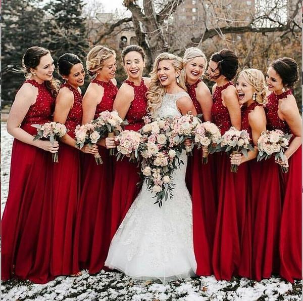 High Neck A-Line Cheap Modest Popular Formal Long Red Bridesmaid .