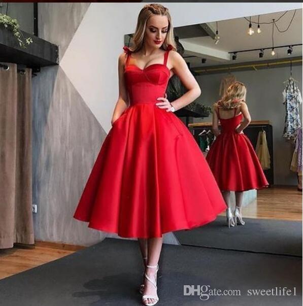 2019 Elegant Red Cocktail Dresses Tea Length A Line Spaghetti .