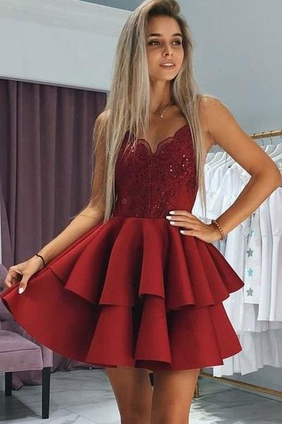 Plunging Sweetheart Lace Dark Red Cocktail Dress with Tiers Skirt .