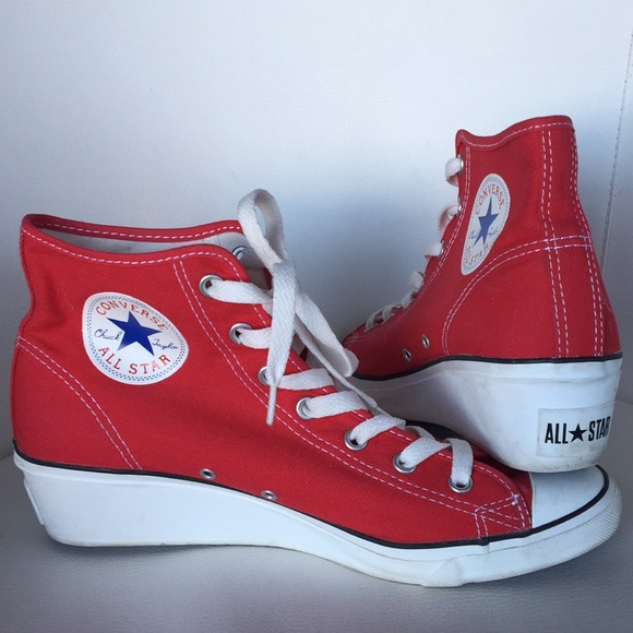 Converse Shoes | Red All Star High Top Wedge Sneakers | Poshma