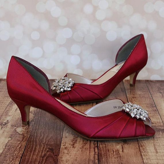 Wedding Shoes, Red Wedding Shoes, Red Kitten Heel Peeptoes, Silver .