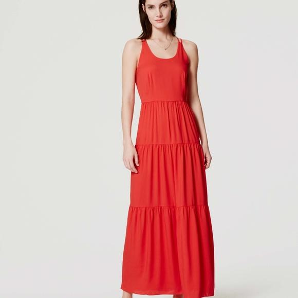 LOFT Dresses | Nwt Red Tiered Strappy Maxi Dress | Poshma