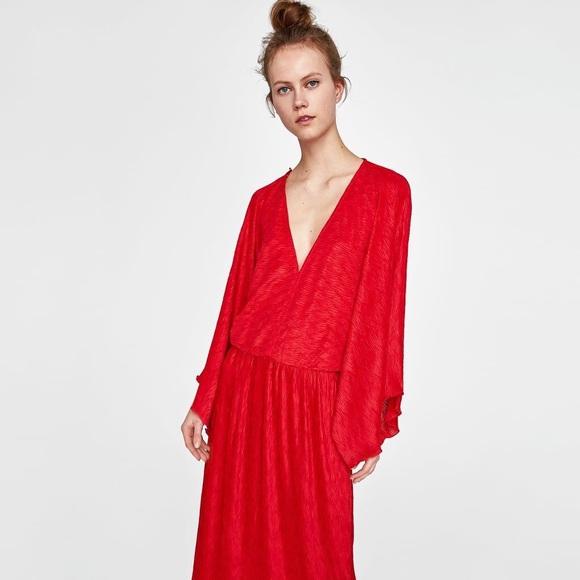 Zara Dresses | Nwt Red Maxi Dress | Poshma
