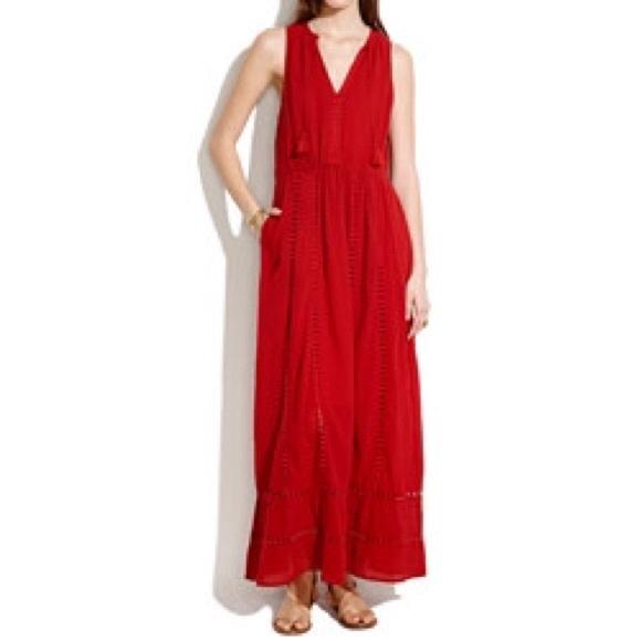 Madewell Dresses | Piazza Maxi Dress In Red Size 0 | Poshma