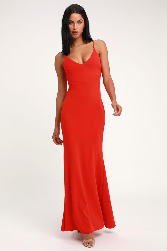 Sexy Coral Red Maxi Dress - Mermaid Maxi Dress - Bodycon Ma
