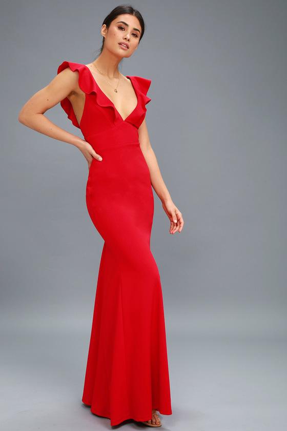 Lovely Red Dress - Maxi Dress - Mermaid Maxi - Go