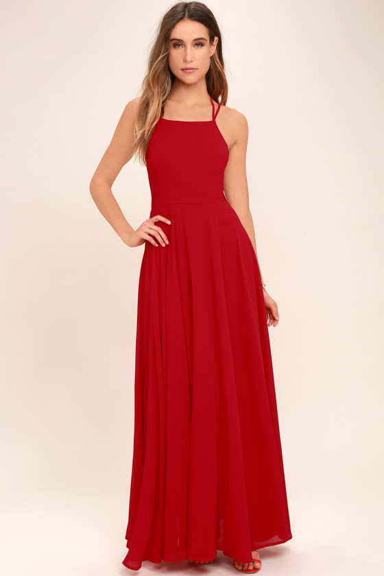Chic Red Dress - Lace-Up Dress - Backless Dress - Maxi Dre
