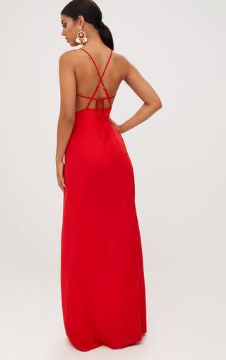 Red Strappy Back Chiffon Maxi Dress | PrettyLittleThing U