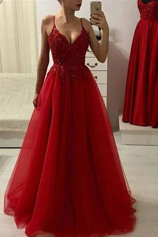 Red A Line Spaghetti Straps Beads Tulle Evening Dresses V Neck .