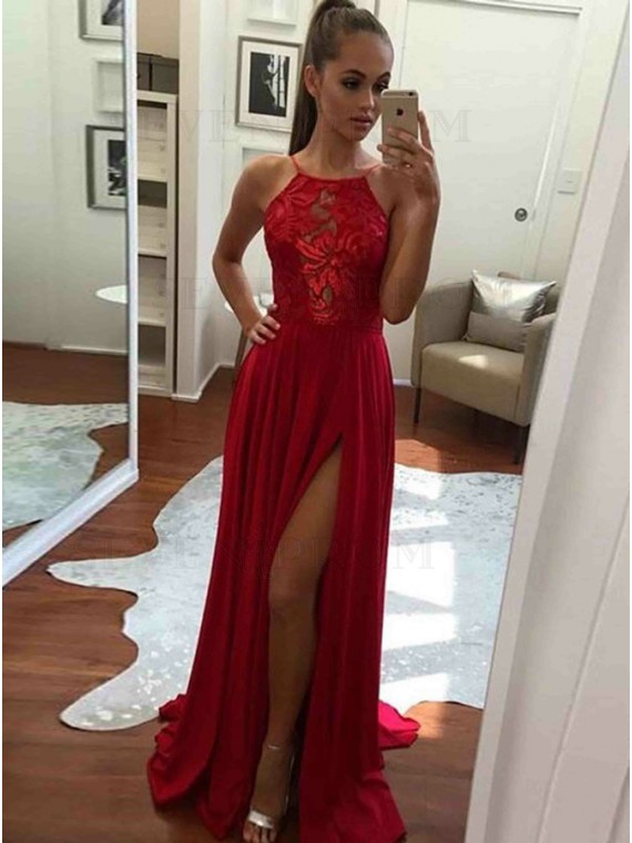 Buy A-Line Halter Backless Floor-Length Red White Prom Dress with .