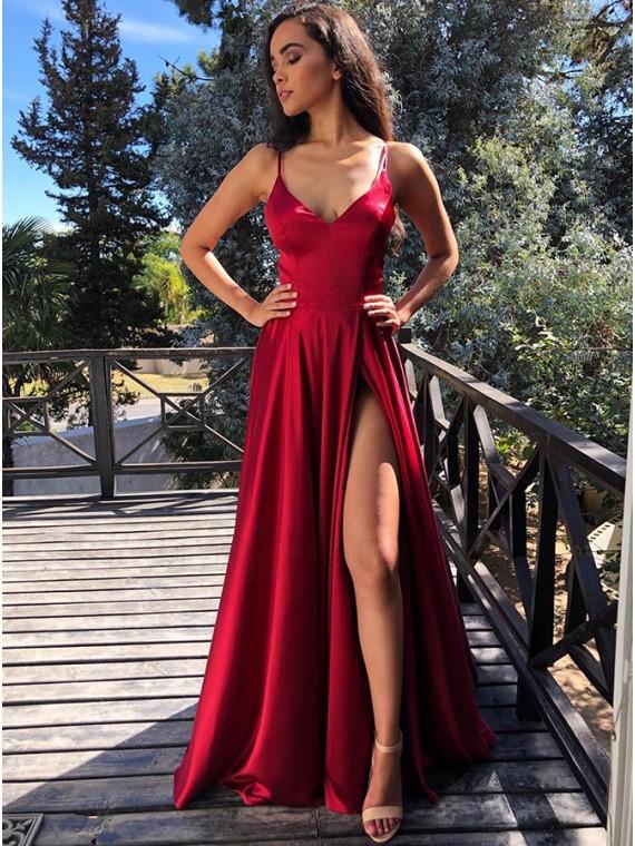Buy Modest V-neck Sleeveless Split Front Cross Back Dark Red Prom .