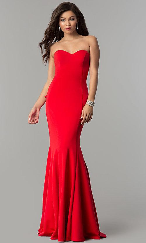 JVNX by Jovani Long Red Strapless Prom Dre