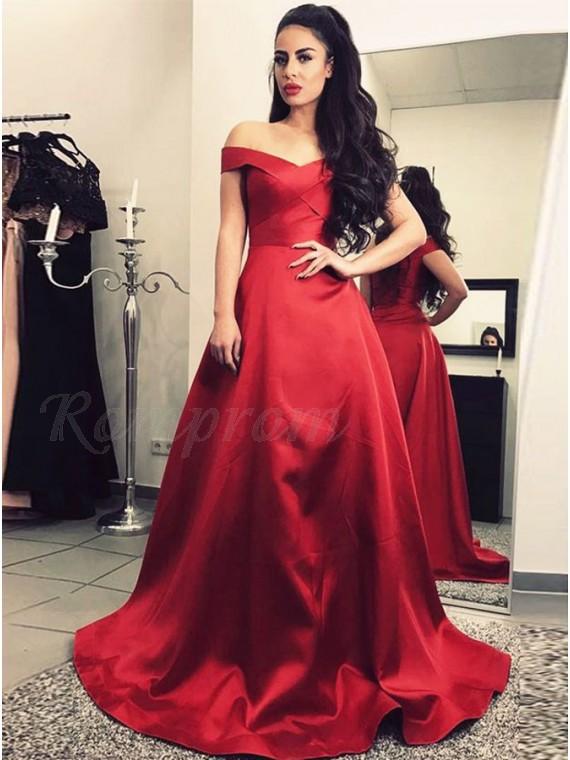 A-Line Off-the-Shoulder Floor-Length Dark Red Prom Dress - $99.99 .