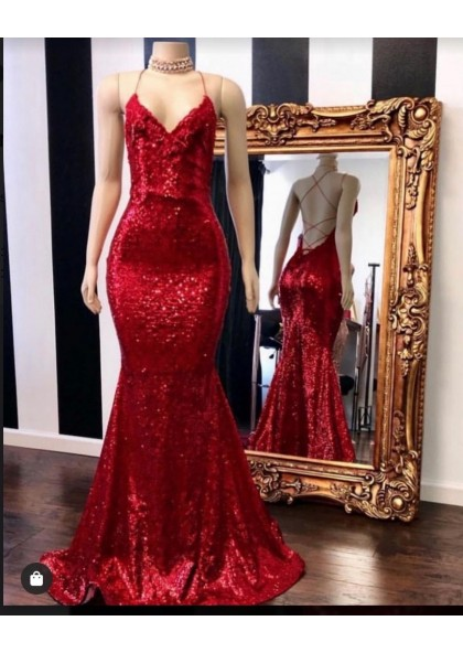 2020 Sexy Halter Sequins Red Mermaid Prom Dress