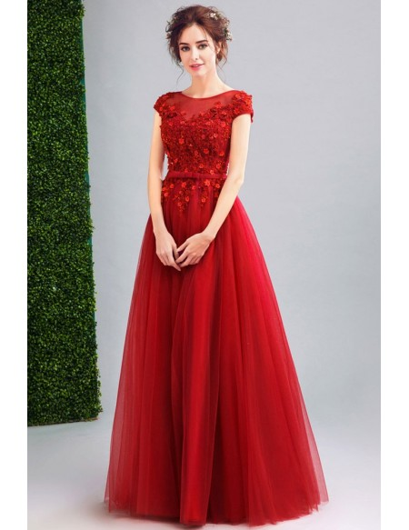 Modest Cap Sleeve Red Tulle Prom Dress Long With Lace Beading .