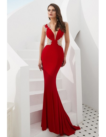 Mermaid Tight Red V Neck Prom Dress With Beading Sheer Back .