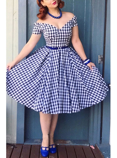 Retro Style A Frame Checker Dress with Belt - Blue / Whi