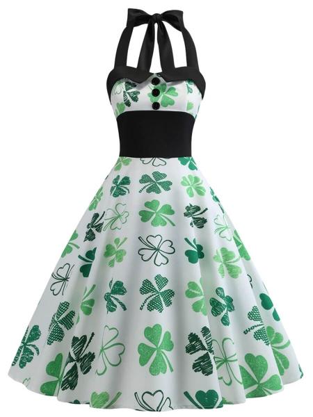 Retro Dresses Halter A-Line Sleeveless Vintage Dress with Four .