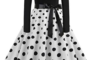 SPITEN Women's Long Sleeve Vintage A-line Dress, 1950s Print Retro .