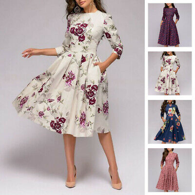 Autumn Spring Vintage Dress Women Retro Tunic Long Sleeved Print .