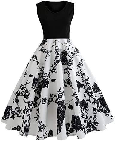 Vintage Dresses for Women, Retro Sunflower Print Sleeveless Tea .